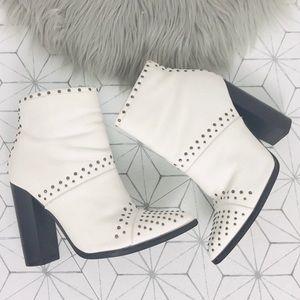 Steve Madden Amara White Studded Boots